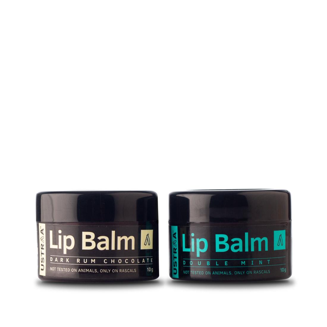 Ustraa Lip Balm (Double Mint & Dark Rum Chocolate) - Set of 2 (10gm)