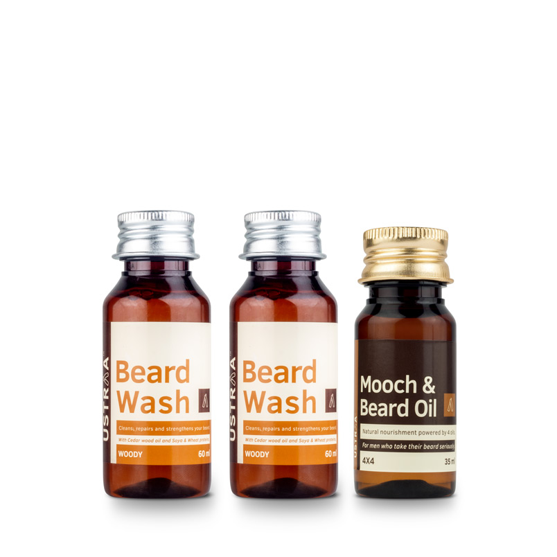Beard Wash (Woody) - Set of 2 & Beard Oil 4x4