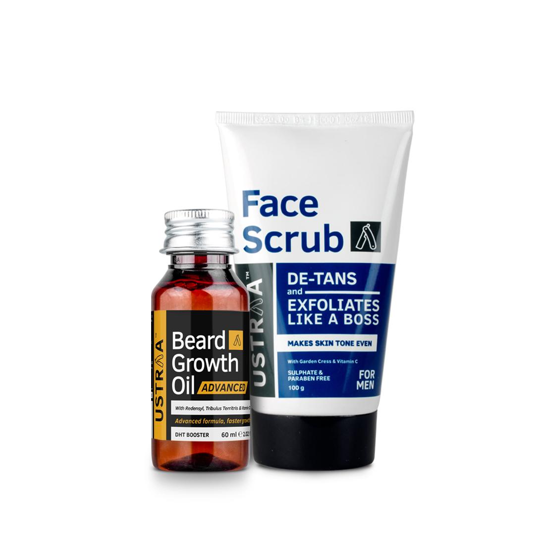 Beard Growth Oil- Advanced & Face Scrub for de-Tan