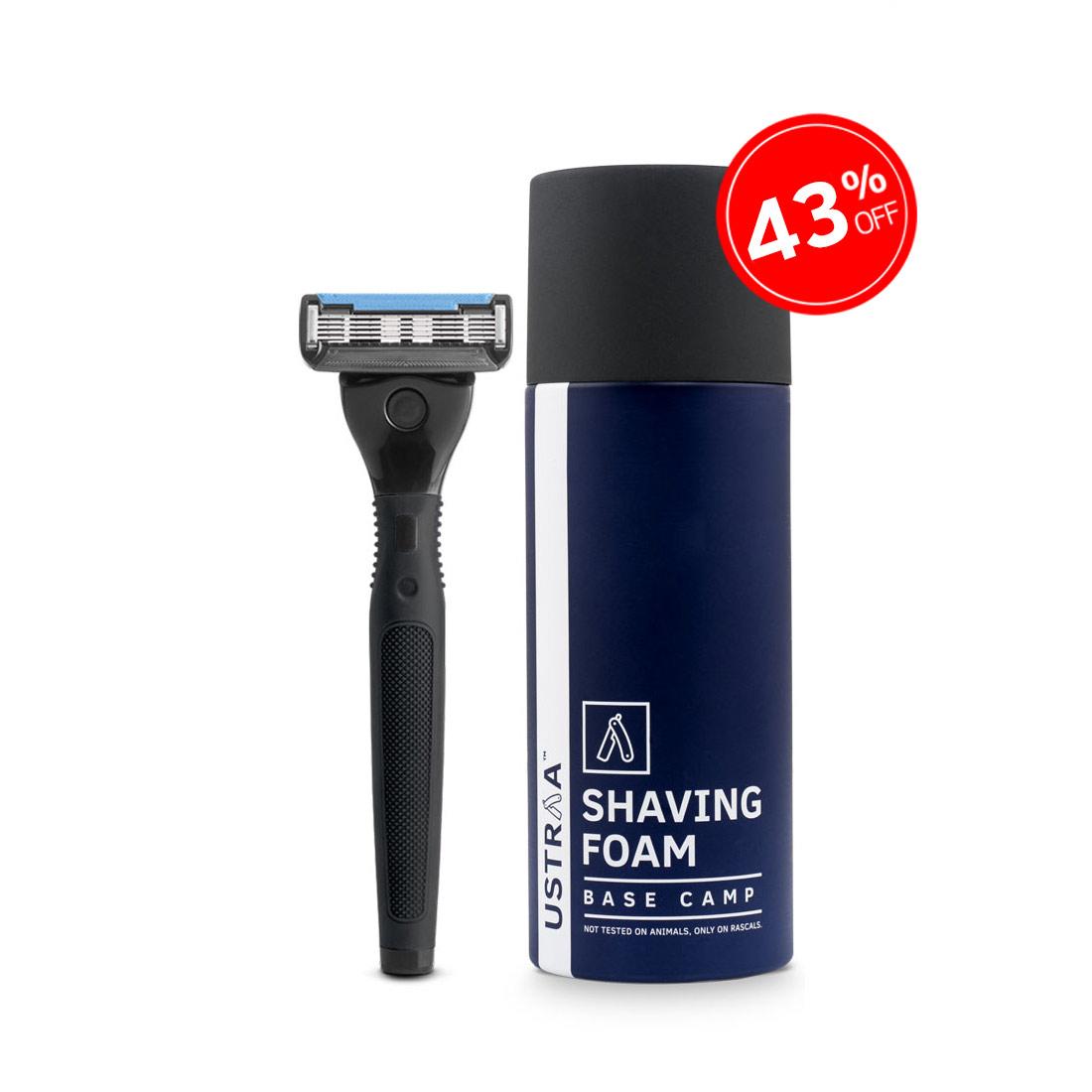 Gear 5 Razor(Black) and Shaving Foam(Base Camp)