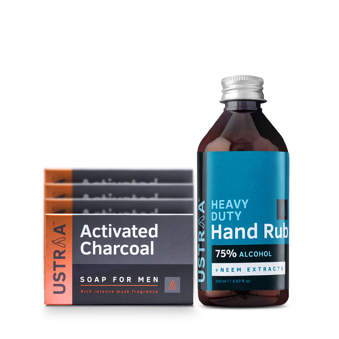 Deo Soap - Activated Charcoal - Pack of 4 & Hand Rub - 200 ml