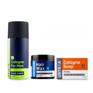Cologne Spray - Base Camp, Hair Wax - Wet Look & Cologne Soap - Rebel