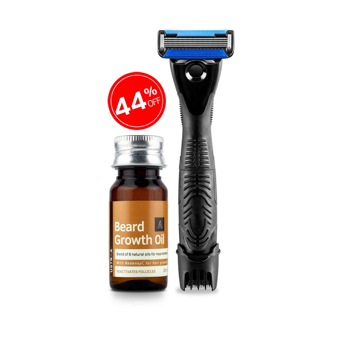 Ustraa Gear 2-in-1 Beard Styler - Razor & Trimmer and Beard Growth Oil