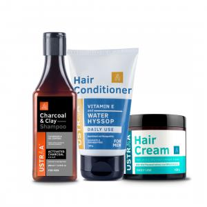 Clay & Charcoal Shampoo, Conditioner & Daily Use Hair Cream