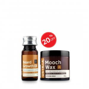 Beard Growth Oil and Beard & Mooch Wax- Strong Hold