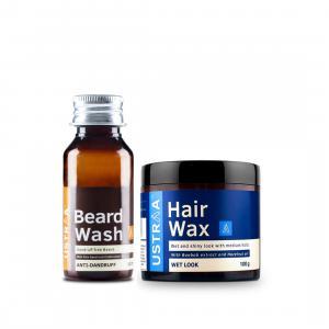 Anti Dandruff Beard Wash and Hair Wax Wet Look