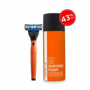 Gear 5 Razor(Orange) and Shaving Foam(Badass Sexy)