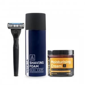 Shaving Foam Base Camp, Moisturising Cream and Ustraa Gear 5 Blade razor