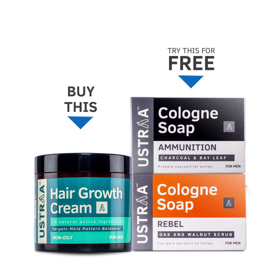 Hair Growth Cream (Get 2 Ustraa Cologne Soaps Free)