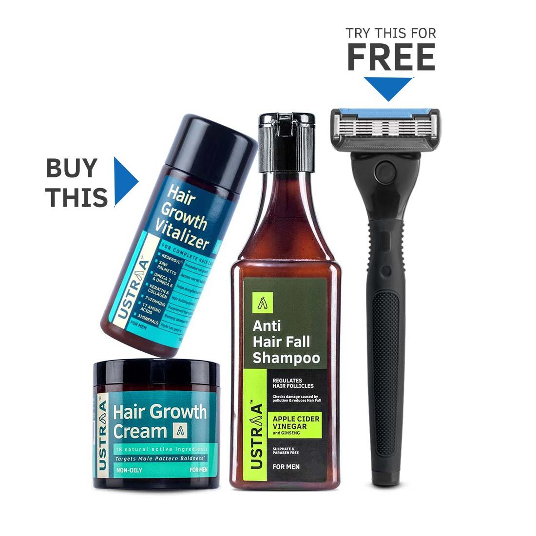 Hair Growth Kit (Get Ustraa 5 Blade Razor Free)