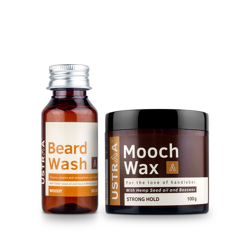Beard Wash (Woody) & Mooch Wax - Strong hold