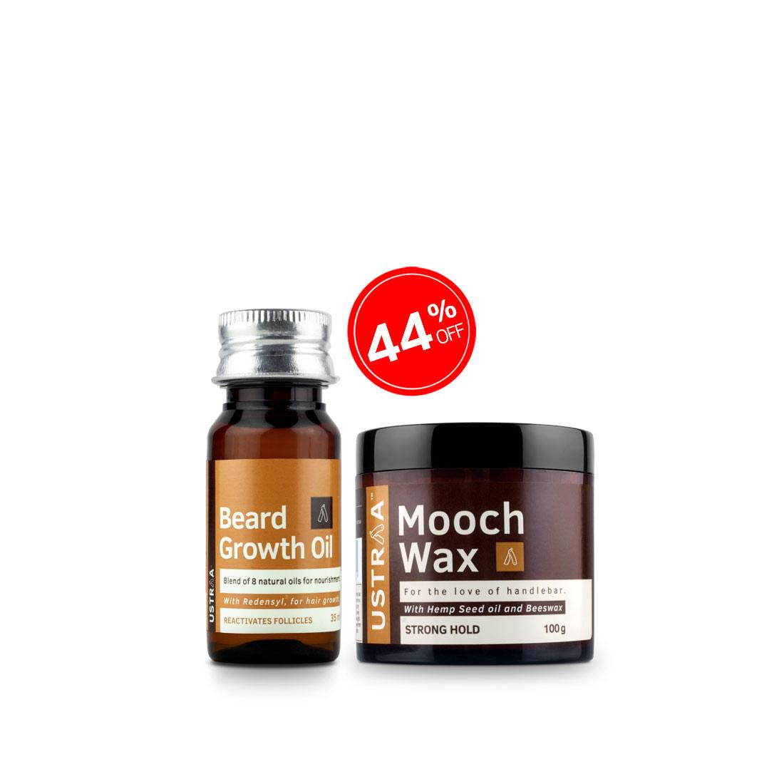 Beard Growth Oil and Beard & Mooch Wax- Strong Hold