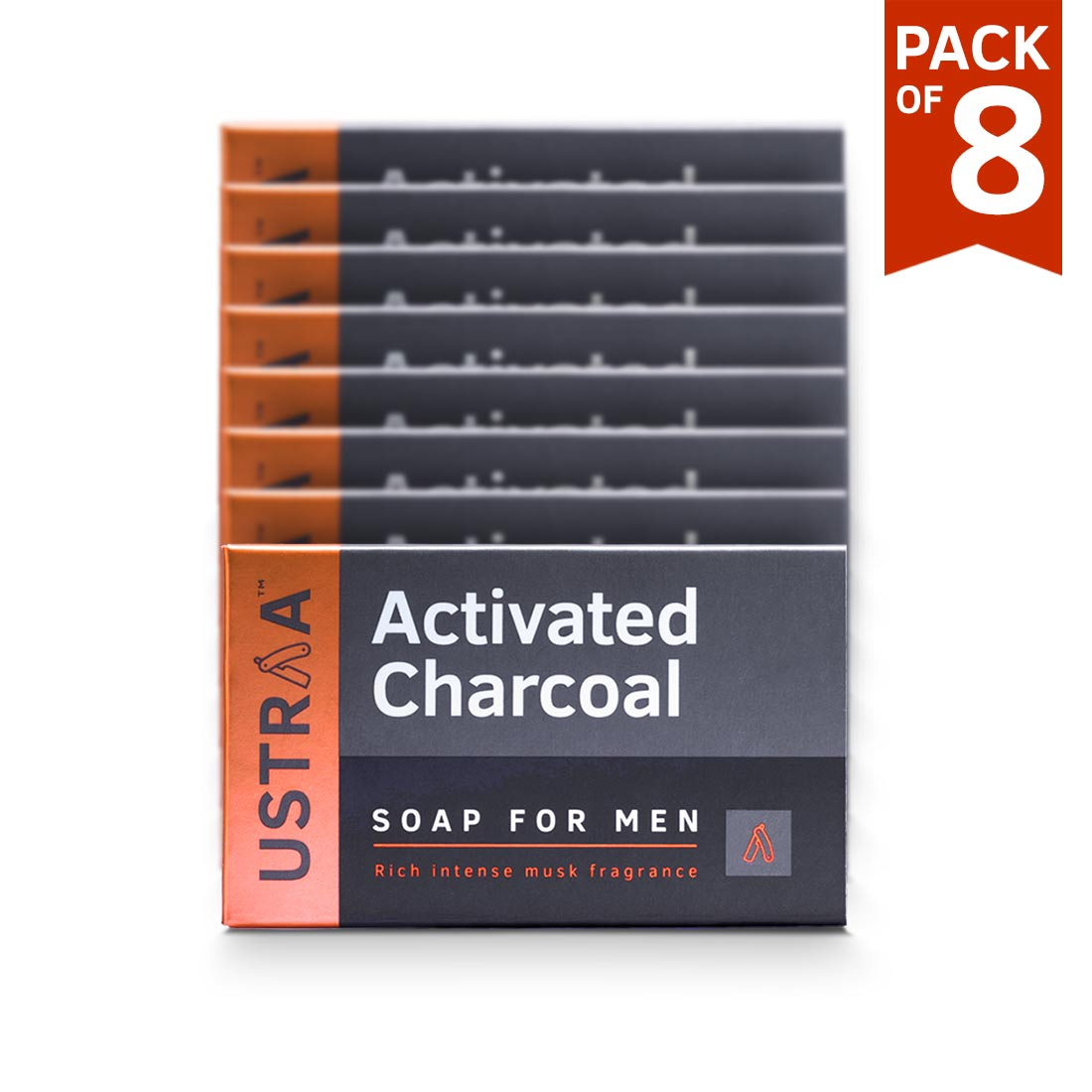 Ustraa Deo Soap For Men with Activated Charcoal, 100 g (Pack of 8)
