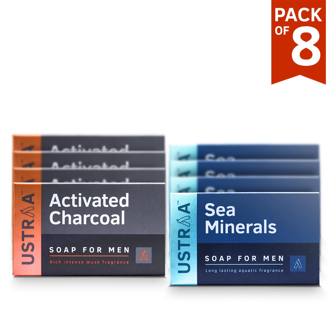 Ustraa Deo Soap for Men with Sea Minerals & Activated Charcoal, 100 g (Pack of 8)