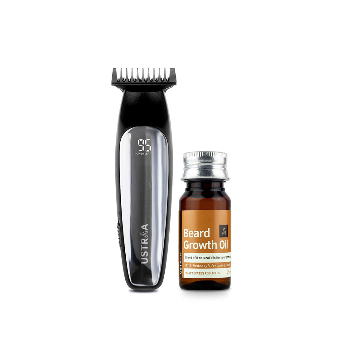 Ustraa Chrome - Lithium Powered Beard Trimmer and Beard Growth Oil