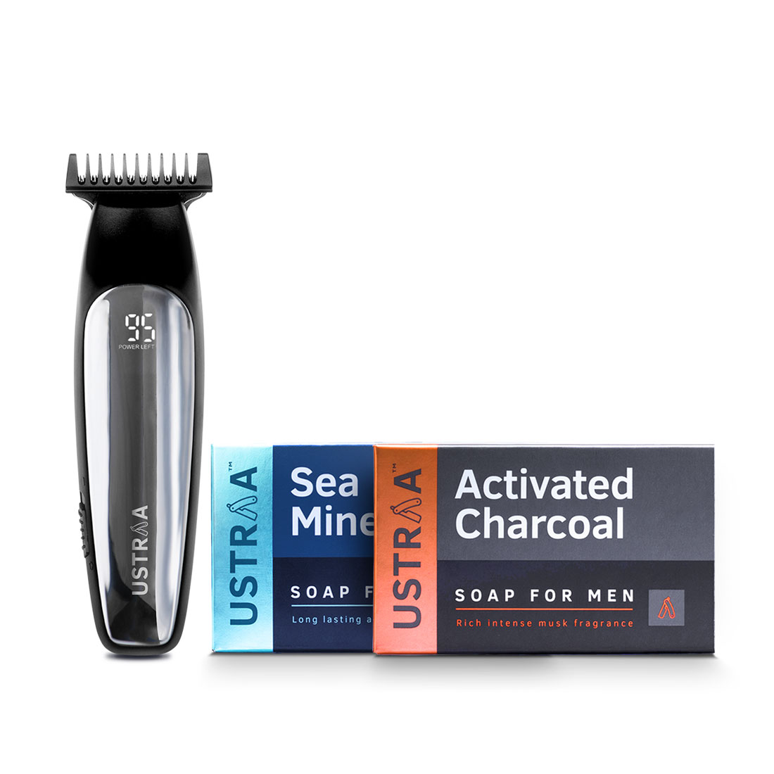 Ustraa Chrome - Lithium Powered Beard Trimmer and 2 New Ustraa Deo Soaps