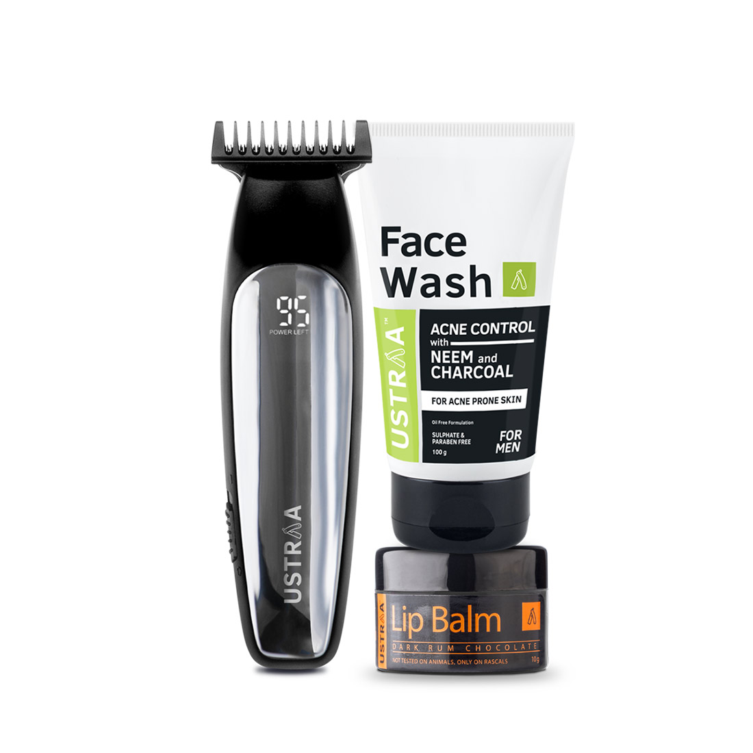 Ustraa Chrome - Lithium Powered Beard Trimmer, Face Wash and Lip Balm
