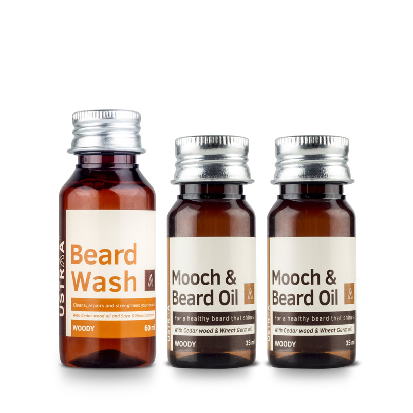 Beard Oil - Set of 2 & Beard Wash (Woody)